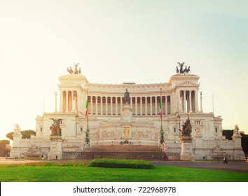 view of Monument of Victor Emmanuel II on Venice Square , Rome, Italy, retro toned