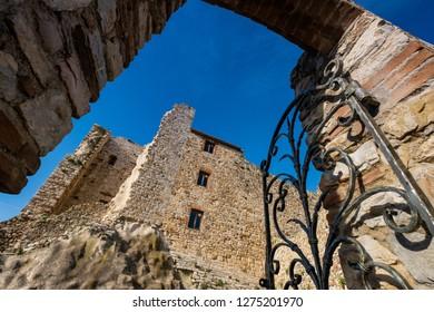View of the monumental complex of the Rocca Aldobrandesca castle of Suvereto, province of Livorno, Tuscany, Italy