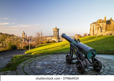 View of monuments on Calton Hill in Edinburgh - Scotland
