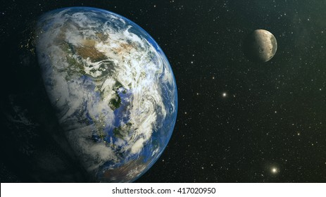 View from the moon orbit and rotating around the planet earth. Elements of this image furnished by NASA