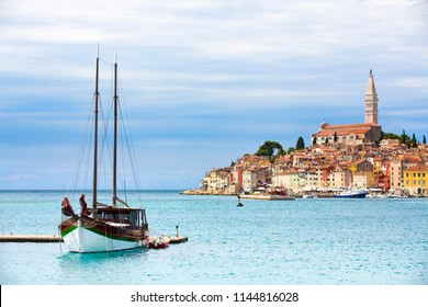 View of Moored Boat and the Old City in Rovinj, Croatia