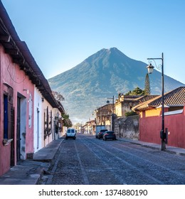 View at the morning streets of Antigua Guatemala with Aqua Volcano