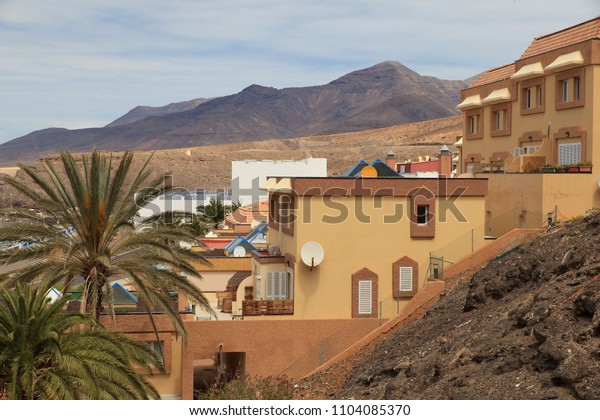View of the Morro Jable city in Fuerteventura- Canary Islands and the mountains in the background