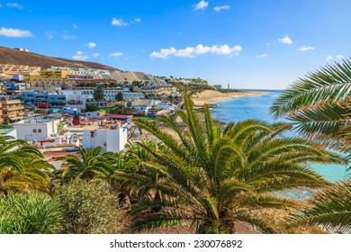 View of Morro Jable town on Jandia peninsula, Fuerteventura, Canary Islands, Spain
