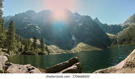 view of Morskie Oko, Mieguszowicki peak and Rysy peak