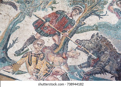 View of a mosaic hunt scene in the floor of the old roman Villa del Casale of the 4th century A.C. Unesco world heritage, Piazza Armerina, Sicily