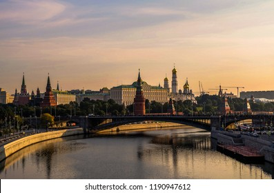 View of the Moscow Kremlin and Moskva River in the morning, Russia.