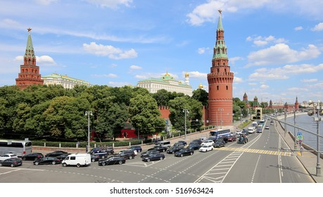 View of Moscow Kremlin on a sunny day, Russia-- Moscow architecture and landmark, Moscow cityscape