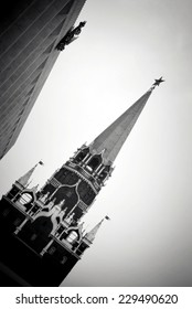 View of the Moscow Kremlin, a popular touristic landmark. UNESCO World Heritage Site. Black and white photo.