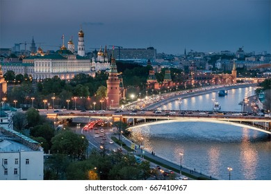 View to the Moscow Kremlin from the roof of Christ the Saviour Cathedral