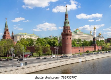 View of the Moscow Kremlin Wall and Moscow river in Russia