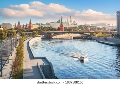 View of the Moskva River and the Moscow Kremlin from the Patriarchal Bridge in the morning sun
