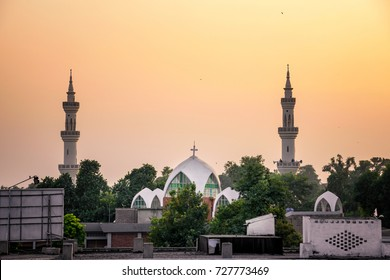 View of mosque and church together in Peshawar