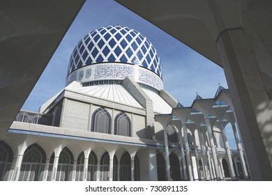 View of mosque dome with shining marble at Shah Alam state mosque. Islamic architecture.