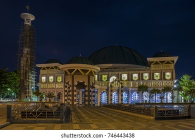 view of the mosque at night