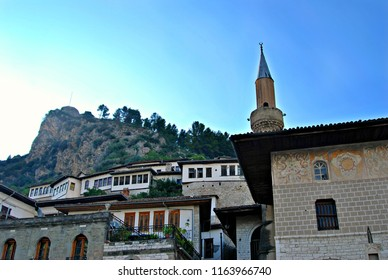 View of the mosque and old city of Berat with the fortress in the background