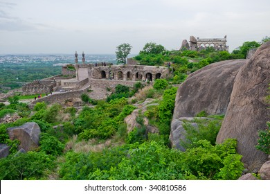 View of the mosque and ramparts at Golcanda Fort overlooking the city of Hyderabad, India. The Medieval fortress was built during the Mughal Empire.
