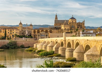 View at the Mosque-Cathedral with Roman bridge in Cordoba - Spain