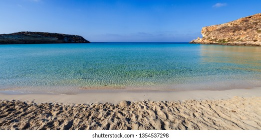 View of the most famous sea place of Lampedusa, It is named Spiaggia dei conigli,  in English language Rabbits Beach or Conigli island