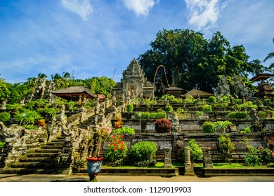View of the most famous temple in Bali. Pura Taman Saraswati temple also known as Lotus temple in Ubud, Bali Island.