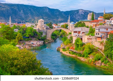 view of Mostar city and famous bridge