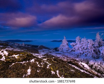 View from a mounatin range to the valey filled with low clouds and fog during temperature inversion,rock,clouds,sky,sunlight. Stunted spruce trees with rime, scenic landscape. Jeseniky.Czech republic.