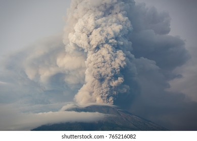A view of Mount Agung erupting in Bali Indonesia