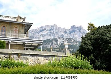 View of Mount Ai-Petri and Vorontsov Palace. Crimea.