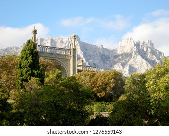 View of Mount Ai-Petri from Vorontsov Park in Alupka