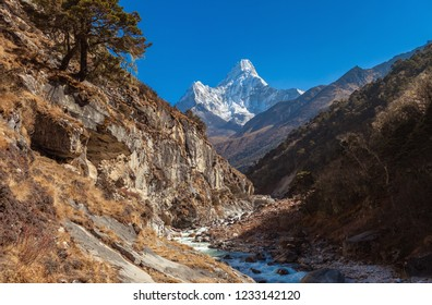 View of Mount Ama Dablam (6812 m altitude) in Himalayas, Nepal