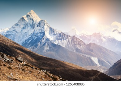 View of Mount Ama Dablam at sunset in Himalayas, Nepal. Everest Base Camp trek, Sagarmatha national park
