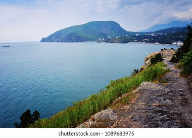 View of Mount Ayu-Dag from Cape Plaka Crimea. Picturesque View of Ayu Dag mountain from Utes settlement.