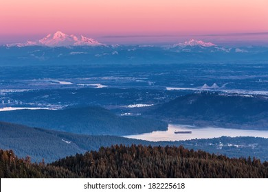 View of Mount Baker at Dusk from the summit of Grouse Mountain, B.C