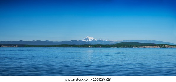 View of Mount Baker and Washington coastline from the San Juan Islands