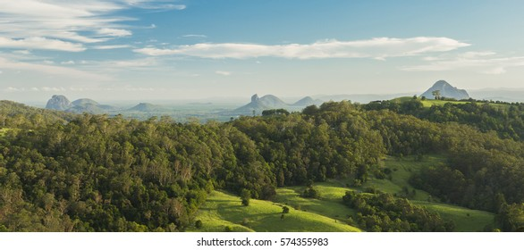 View of Mount Beerwah and countryside in the Glass House Mountains, Sunshine Coast.