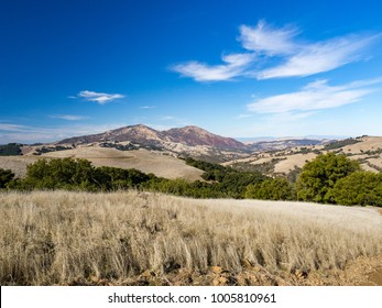 View of Mount DIablo from hike in Morgan Territory Regional Preserve, Contra Costa County, East Bay Regional Park, California.  Raven Trail, Highland Ridge Trail Loop on sunny day in the fall.