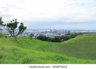 View of Mount Eden and Auckland cityscape in New Zealand