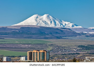 View of Mount Elbrus from the city of Essentuki, a resort in the region of Caucasian Mineral Waters, Russia.