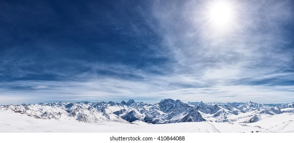 View from the mount Elbrus, the northern Caucasus mountains, Russia
