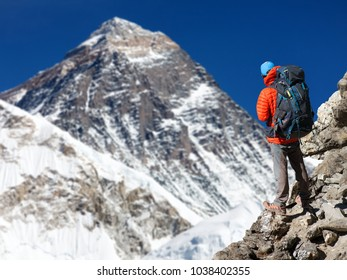 View of Mount Everest 8848m from Kala Patthar with tourist on the way to Everest base camp, Sagarmatha national park, Khumbu valley, Solukhumbu, Nepal Himalayas mountains