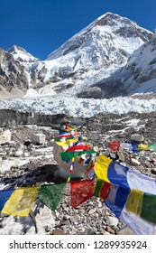 View from Mount Everest base camp and prayer flags, sagarmatha national park, Khumbu valley, solukhumbu, Nepal Himalayas mountains