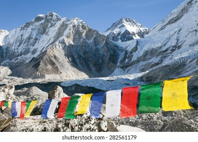 view from Mount Everest base camp with row of buddhist prayer flags - Sagarmatha national park - Khumbu valley - Nepal