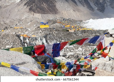 View from Mount Everest base camp, tents and prayer flags, sagarmatha national park, Khumbu valley, solukhumbu, Nepal