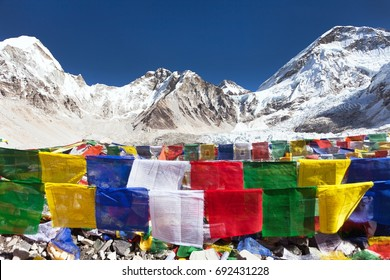 view from Mount Everest base camp with rows of buddhist prayer flags - Khumbu valley - Nepal