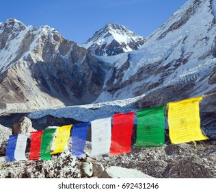 view from Mount Everest base camp with row of buddhist prayer flags - Khumbu valley - Nepal