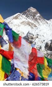 view of Mount Everest with buddhist prayer flags from Kala Patthar, way to Everest base camp, Sagarmatha national park, Khumbu valley, Solukhumbu, Nepal Himalayas