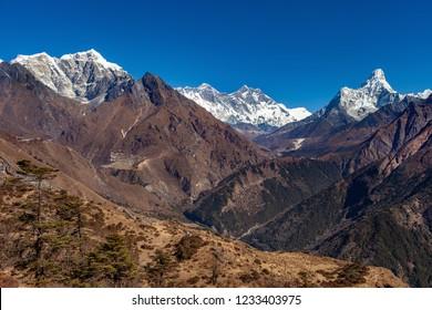View of mount Everest, mount Lhotse, mount Ama Dablam and Khumbu valley, Sagarmatha national park,Nepal