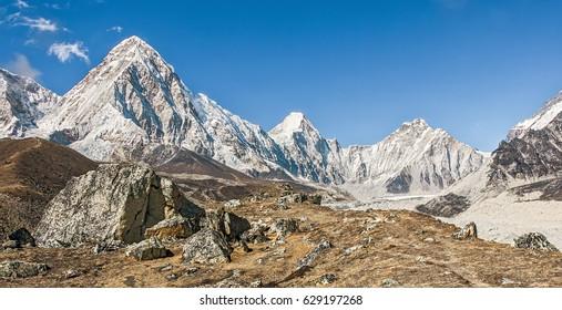 View of the Mount Everest region near Gorak Shep. Nepal, Himalayas