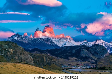 View of Mount Fitz Roy in the morning sunlight at El Chalten Village in the Los Glaciares National Park, Argentina