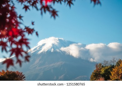 View of Mount Fuji from Fujikawagichiko resort town, with cloud cover and a maple tree in autumn in the foreground, Japan.
